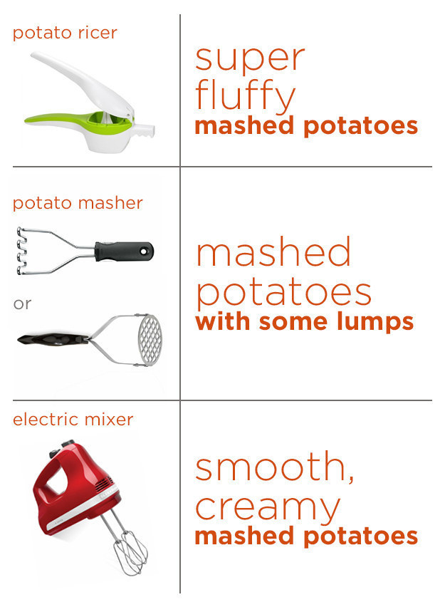 And customize the texture of your mashed potatoes by using the correct tool.