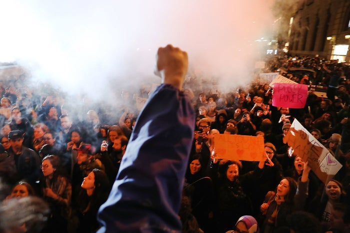 Thousands of anti-Trump protesters shut down 5th Avenue in front of Trump Tower as New Yorkers react to the election of Donald Trump as president of the United States on Nov. 9 in New York City.
