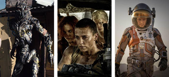 Left to right: District 9, Mad Max: Fury Road, and The Martian