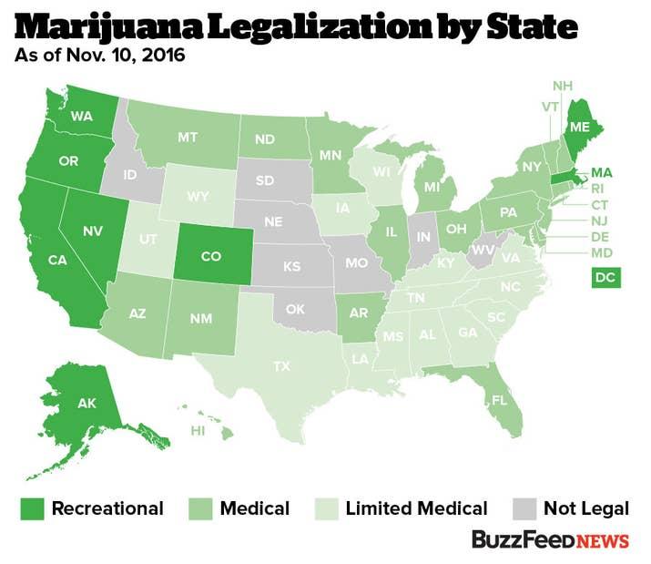 Voters In Four States Legalize Recreational Marijuana - Map of marijuana laws us 2016