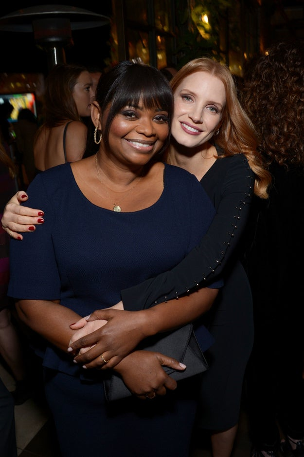 Jessica Chastain hugged Octavia Spencer.
