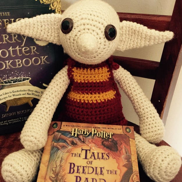 A crocheted Dobby who loves to snuggle and admire socks.