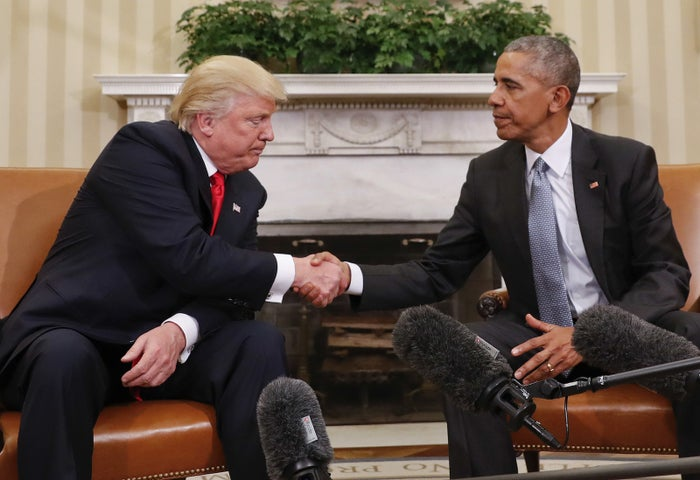 Obama and Trump shake hands in the Oval Office Thursday.