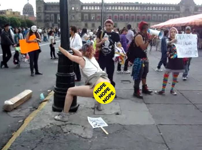 The video shows performance artist Rocío Boliver during a 2012 protest in Mexico City, when many people took to the streets to denounce the election of Enrique Peña Nieto, Mexico's current president. In the clip, Boliver squats over a placard, poops on it, then uses her hands to smear it on.