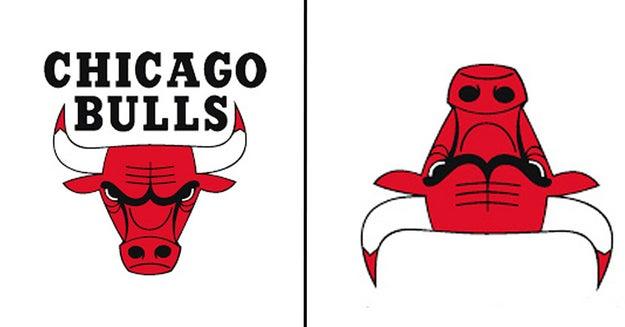 El logo de los Toros de Chicago al revés es un robot muy concentrado leyendo.
