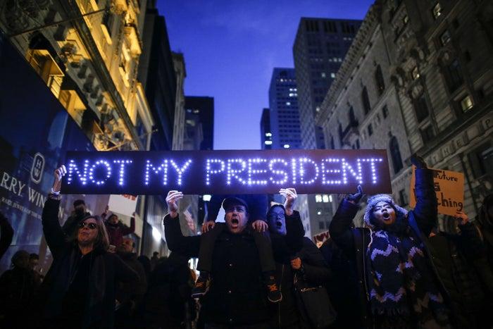 Anti-Trump protesters in New York City on Saturday.
