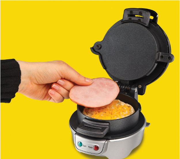 A breakfast sandwich maker that will motivate you to put down the cereal box and make a filling breakfast.