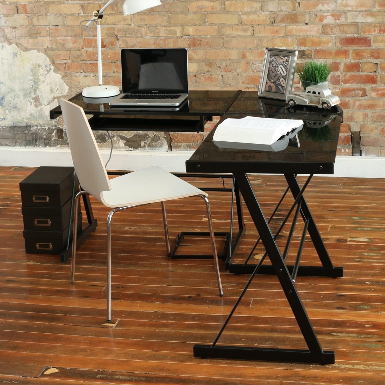 this corner desk thatu0027s split into three pieces of black glass - Cheap Desk