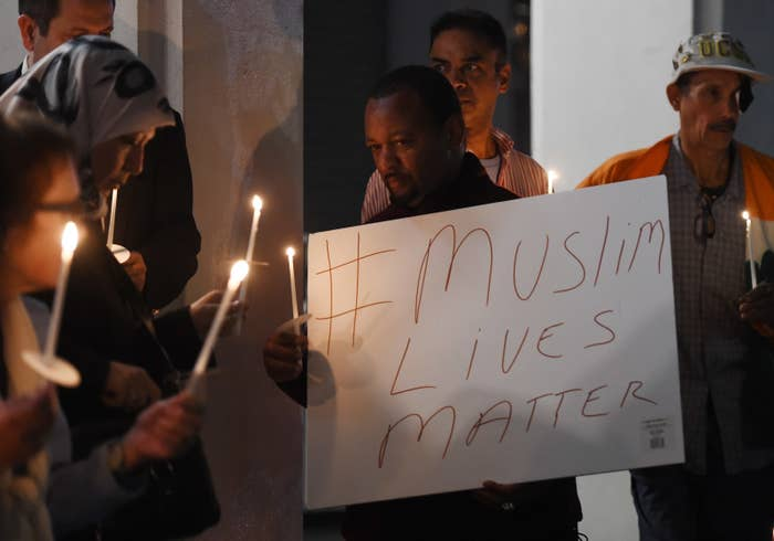 A candlelight vigil for three Muslim students shot dead by a white neighbor in North Carolina in February 2015