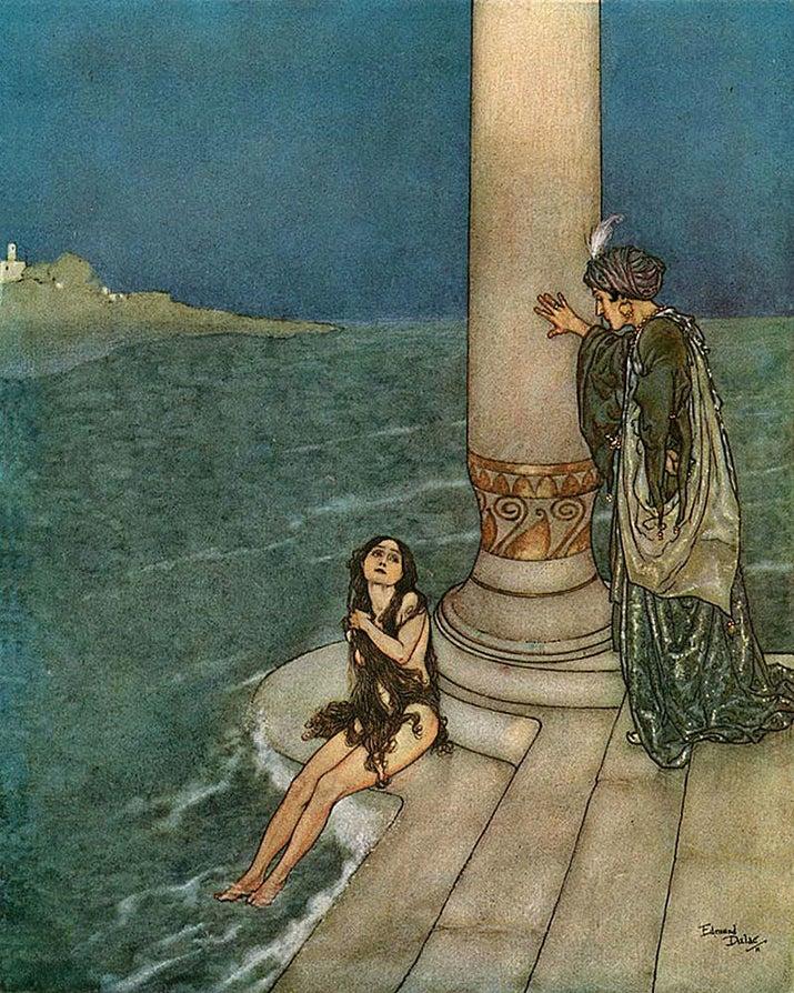 Cómo era en realidad:Las letras chiquitas del contrato eran que las piernas de Ariel dolerían todo el tiempo, como si estuviera caminando sobre cuchillos. Como el dolor y la seducción no se llevan, al final el príncipe se casa con otra mujer y Ariel se lanza al océano, donde se transforma en espuma de mar.