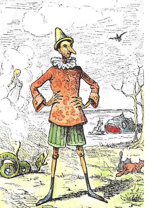 """La amarga realidad:En la historia original de Carlo Collodi, Pinocho es un mamón. Desde que nació se portaba mal, robaba cosas y hasta su padre dijo que era """"un muchacho desdichado."""" Un día, como consecuencia de sus actos, un gato y un zorro lo colgaron de un sauce y lo vieron morir mientras se balanceaba en el viento."""