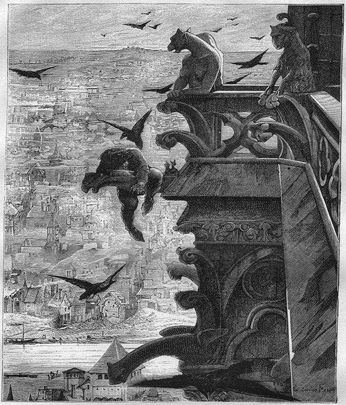 Cómo era en realidad:En la novela de Victor Hugo, Quasimodo no logra salvar a Esmeralda (de hecho, sin querer, él se la entrega a las autoridades) y observa cómo la cuelgan de la horca.Luego Quasimodo va a la tumba de Esmeralda, donde se quedó hasta morir de hambre. Años después, al abrir la tumba, alguien encontró los esqueletos de ambos pero, al tratar de separarlos, se convirtieron en polvo.