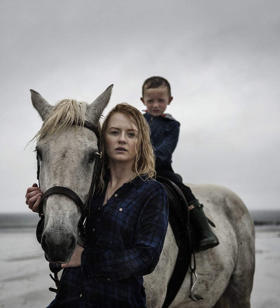 Danielle MacGillivray is seen with her 4-year-old son, Peter, who she raises alone. Danielle has multiple sclerosis (MS). She still lives on the island of Benbecula, where she grew up, and is a voluntary firefighter.