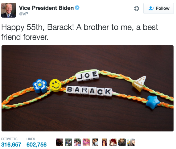Obama is getting friendship bracelets from his VP, and most of us can't even get a text back. There is truly no justice.