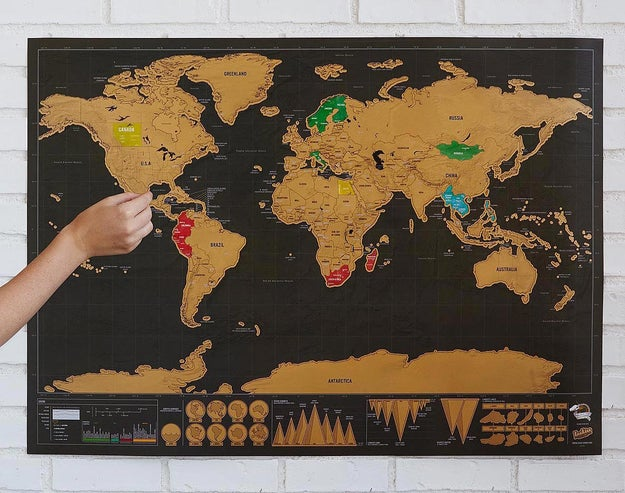 A scratch-off world map that will reveal its colors over the years.