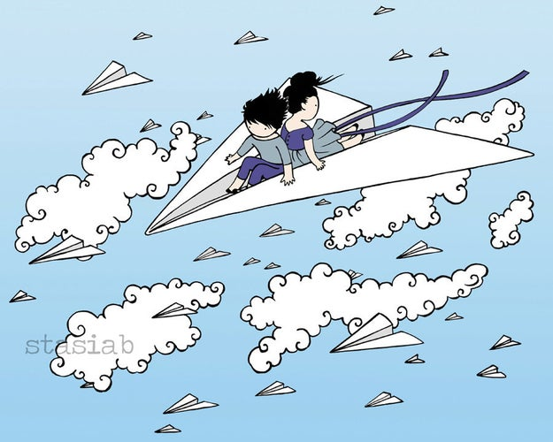 A whimsical print that reimagines what you thought flying meant as a little kid.