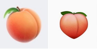Yeah, yeah, it was great, except, OMG, the PEACH BUTT EMOJI DISAPPEARED and was replaced with a peach that looked more, oh, I guess like an actual peach.