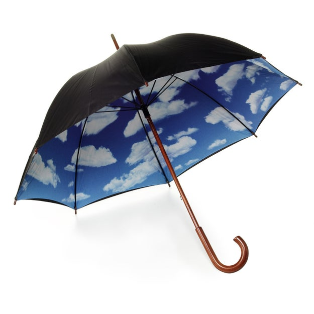 A blue-skies umbrella so you can pretend you're flying high up, going somewhere wonderful.
