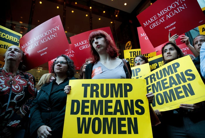 Women protesting outside of New York's Trump Tower in October.