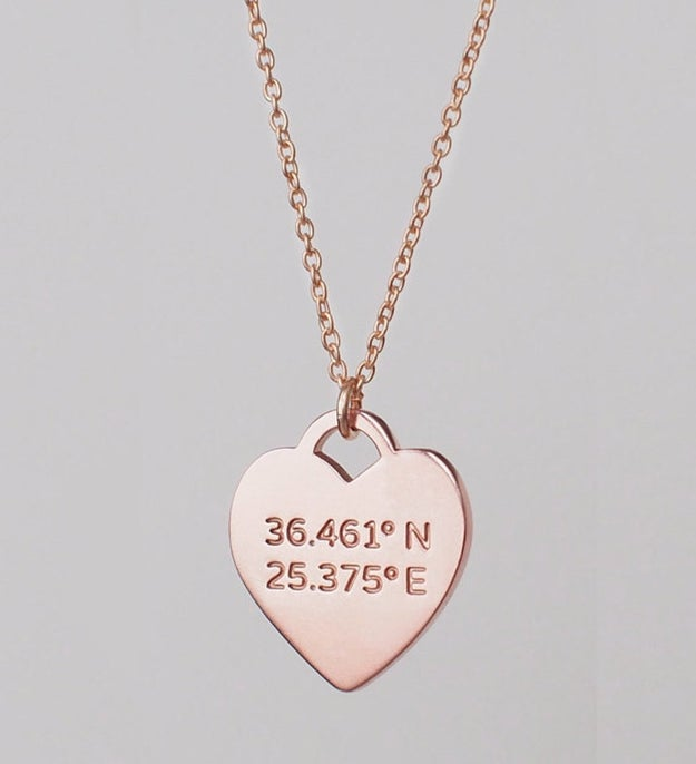 A pretty coordinates necklace that lets you keep your ~favorite place~ close to your heart.