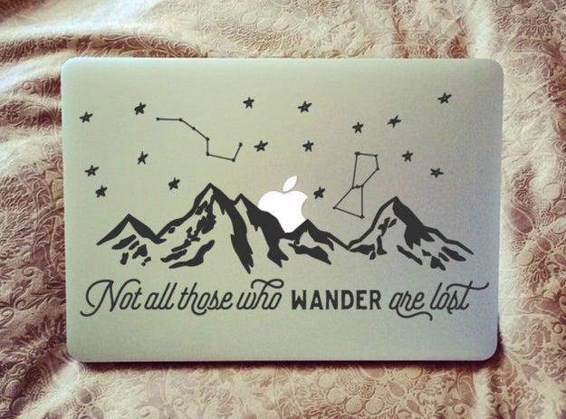 A dreamy laptop decal with one of J. R. R. Tolkien's most classic quotes.