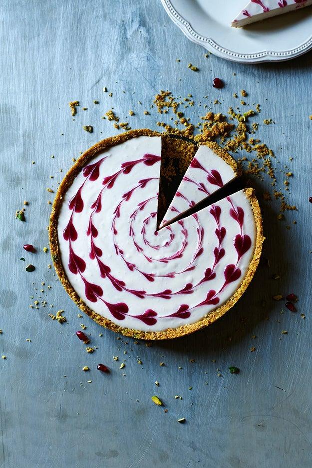 Pistachio, Pomegranate, and Clementine Cheesecake