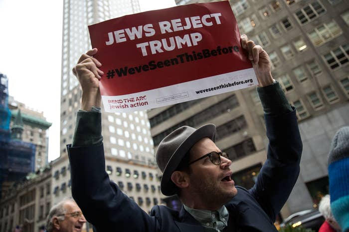 Protesters and members of a Jewish social action group rally against what they call hateful rhetoric from Donald Trump.