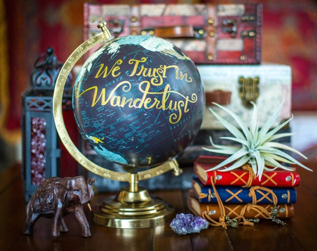 A gorgeous hand-lettered globe that knows where to place its trust (and, most importantly, rhymes).