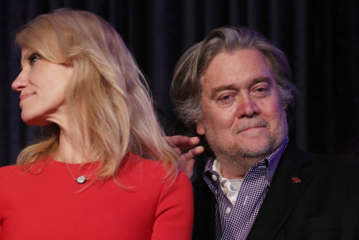 Steve Bannon with Trump's former campaign manager, Kellyanne Conway.