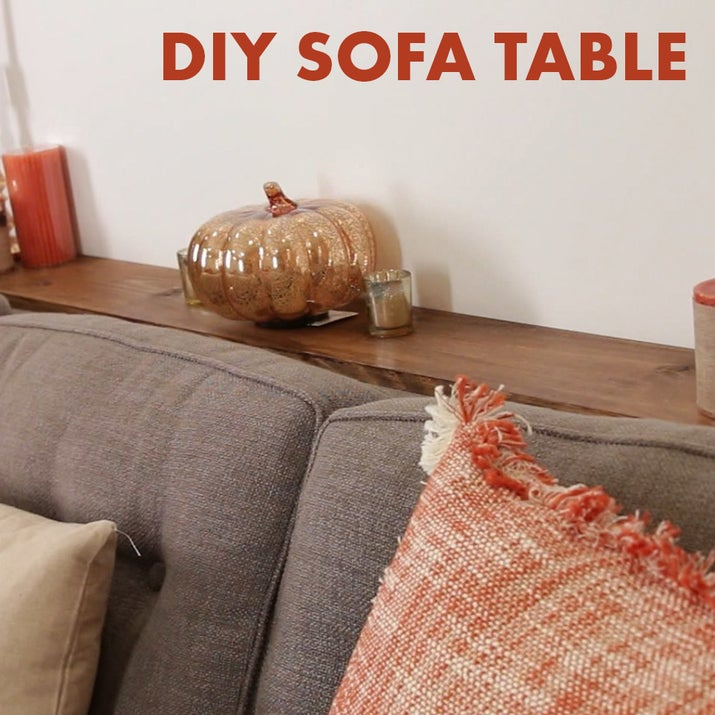 This DIY Sofa Table Adds Much Needed Storage Behind A Couch