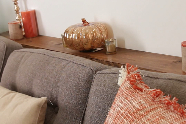 This DIY Sofa Table Adds MuchNeeded Storage Behind A Couch