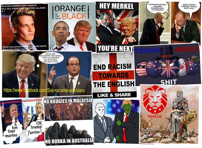 A sample of memes from far-right communities like Britain First, Sos racisme anti-blanc, Meninist Posts, 4chan, r/The_Donald, and United Patriots Front