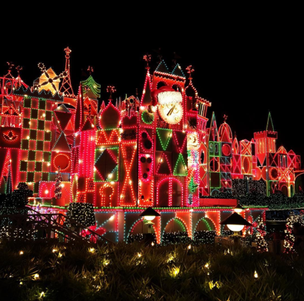 It's a Small World lights up with over a thousand lights.