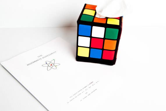 A Rubix Cube Tissue Caddy And Mock Big Bang Theory Roommate Agreement For Your IRL Sheldon