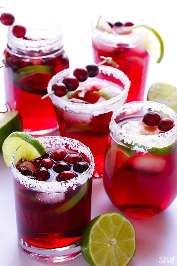 They're margaritas, except with cranberry juice instead of lime juice. And the floating cranberry garnishes are easy AF. Here's the recipe.