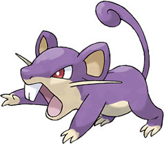 And then there's Pokés like Rattata. This is literally just a regular animal, colored purple.