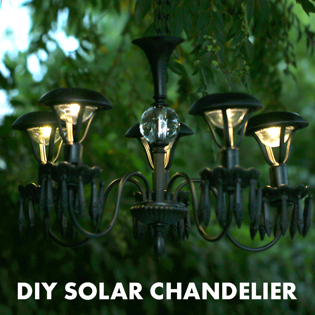 Light up your garden with this diy solar chandelier for Solar light chandelier diy