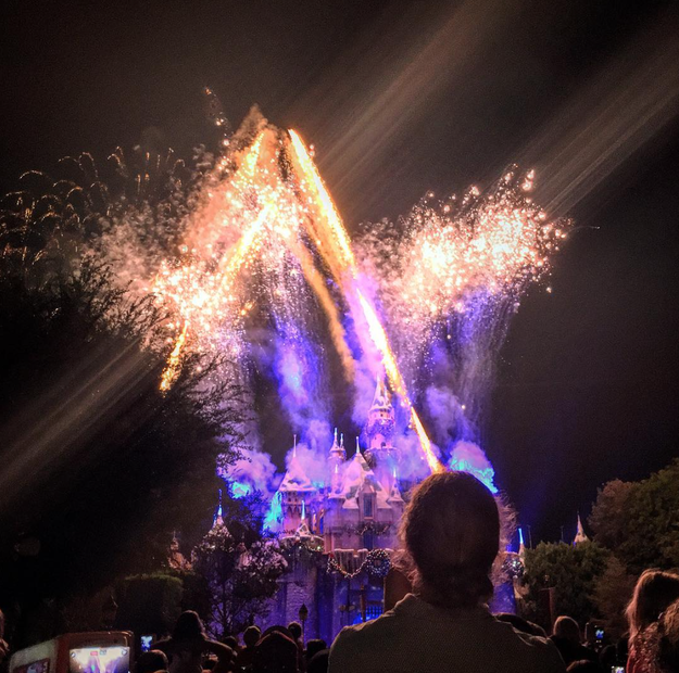 The Believe… in Holiday Magic! Fireworks at Sleeping Beauty Castle light up the sky in unison with holiday music.