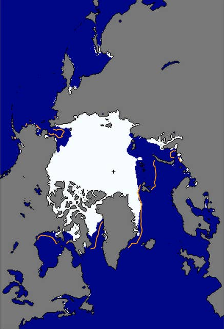 Arctic sea ice extent as of Nov. 17 (white) against median sea ice between 1981 and 2010 (orange).
