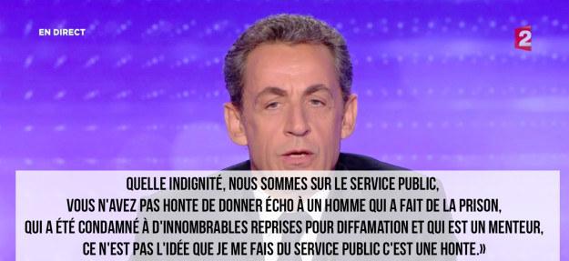 Et la réponse de Sarkozy. Après une pause de quelques secondes, l'ancien président sort la sulfateuse: