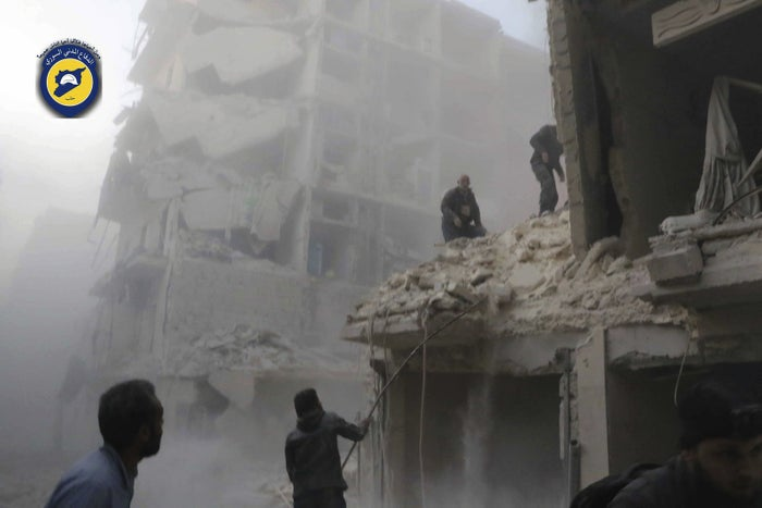 Damage to the Seif al-Dawleh neighborhood in Aleppo on Saturday.