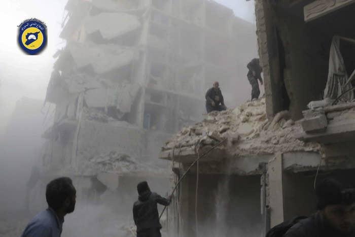 Damage to the Seif al-Dawleh neighborhood in Aleppo on Saturday.