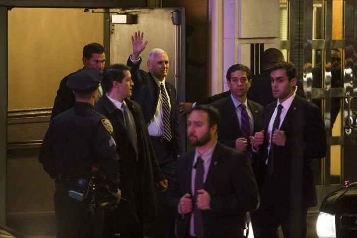 Vice President-elect Mike Pence leaving the Richard Rodgers Theatre after the performance on Friday night.