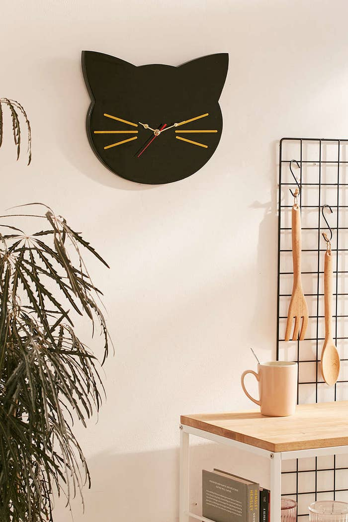 That joke may have you ~feline~ nauseated, but come on: Isn't the clock cute? You've gotta admit it.Get it from Urban Outfitters for $29.