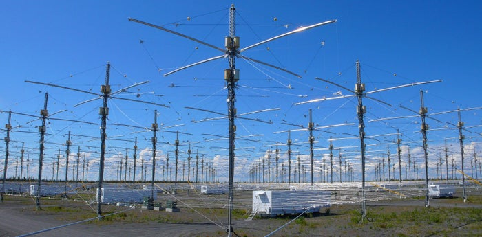 Antennas for the newly completed High Frequency Active Auroral Research Program (HAARP) near Gakona, Alaska.