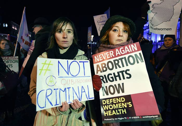 Abortion rights activists rally outside City Hall in January 2016 in Belfast, Northern Ireland.