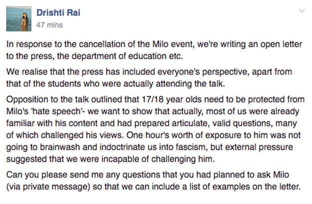 School Claims Government Intervened To Stop Milo Yiannopoulos Event
