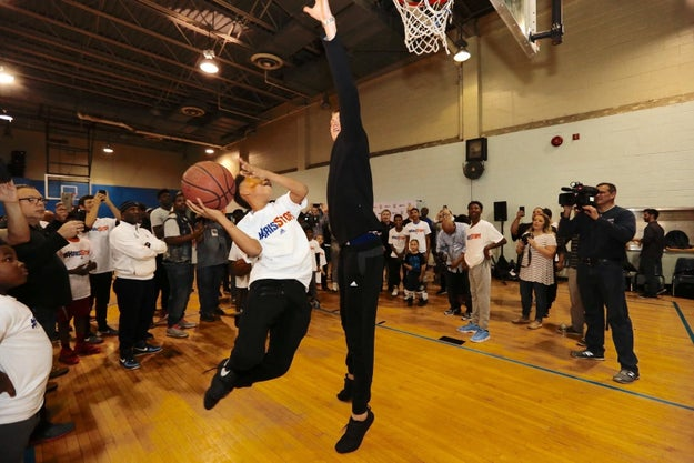 Every time he blocks a shot in a game for the rest of the season, Porzingis will donate $500 to the RENS, a local not-for-profit, metropolitan area youth hoops program.