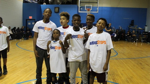 """...but this past weekend he stopped by the Abyssinian Baptist Church after practice to announce his new charitable initiative, """"KrisStops."""""""