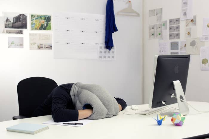 Tiredness can hit you at any time. That's what makes the ostrich pillow such a work of genius!